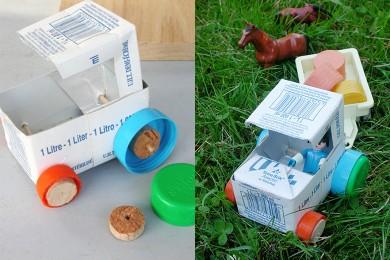 Tracteur en boîte de lait
