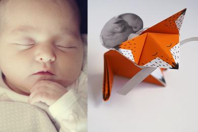 Faire-part de naissance en origami